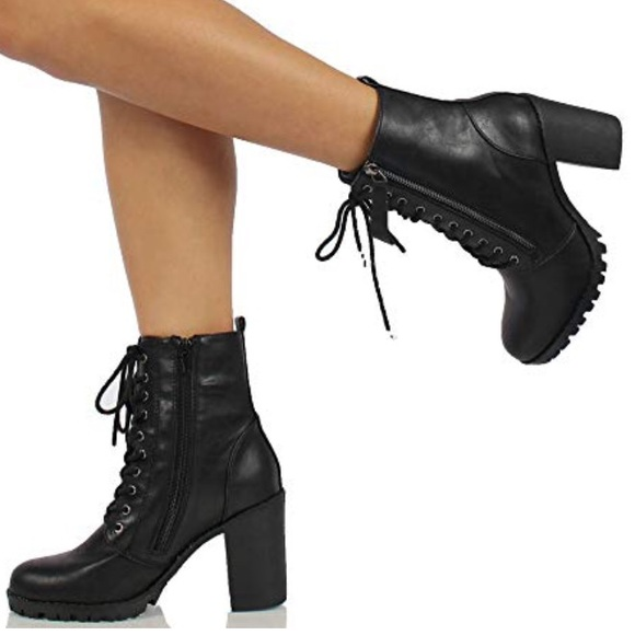 2d9da7ed7f0e Soda black lace-up heeled combat Boots